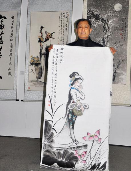 卢成仕老师展览现场展示作品--西施浣纱