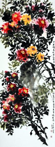 道金平作品《侘紫依风袅》 尺寸:70X180CM 2014年