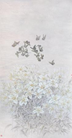 2012年 名称《百合花开》 尺寸:180x93cm 纸本