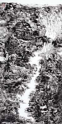 《高山流水》 水墨宣纸 138X68cm2010年