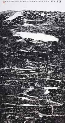 《盛夏太行》 水墨宣纸 138X68cm 2010年
