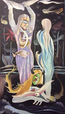 抽象油画(水神之恋)80·160cm2009年