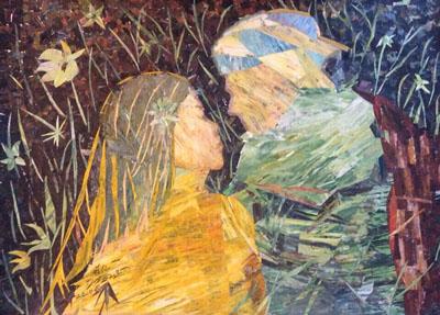 拼贴油画(情侣)58·42cm2014年这是一九八四年发明的拼贴油画。拼贴之意即将油画家废弃的擦笔纸晾干后拼贴成画,具有独创性。
