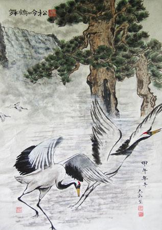 松吟鹤舞 68×100cm