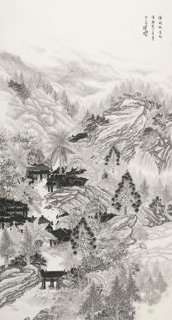 傣族乡音飞瀑图198x98cm