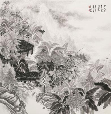 曼俄村高山飞瀑烟云图98X99cm