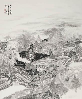 曼鸠村居丛林飞瀑图98X119cm