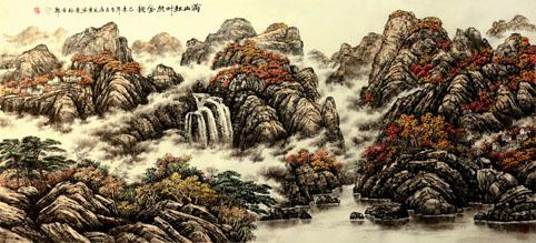 国画《满山红叶照金秋》 规格;180cmx97cm