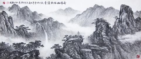 国画《奇峰幽谷聆清音》 规格:136cmx60cm