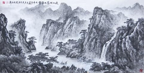 国画《峡江回荡飞瀑声》 规格:136cmx68cm