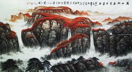 万山红遍丛林尽染六尺整张