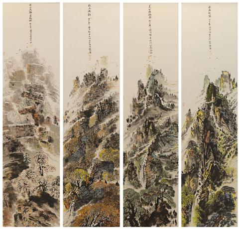 童世明作品3《八尺重彩四季四条屏》280cm×75cm