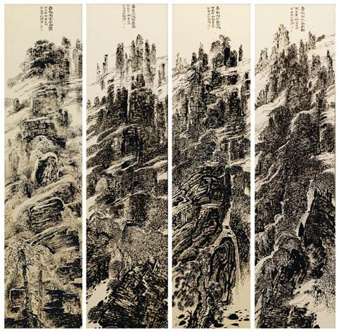 童世明作品4《焦墨八尺四季四条屏》280cm×75cm