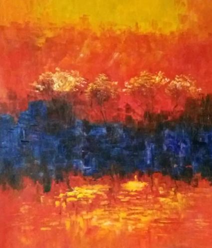 乔领油画:霞光映山林