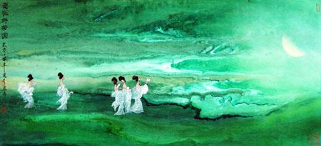 董文政作品1《夏夜群芳圖》当代帛画(35×78)cm 2007年