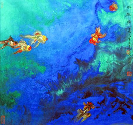 董文政作品2《水趣圖》当代帛画(42×44)cm 2008年