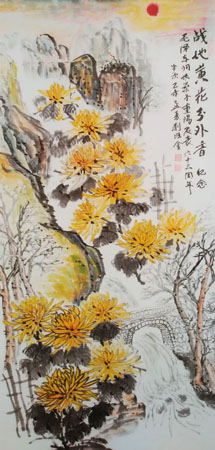 刘旺金作品1《战地黄花》132×66cm 2015.4