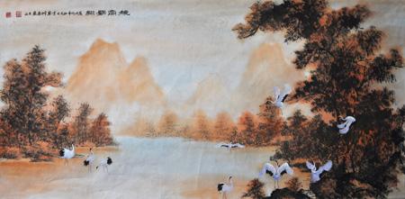 张文山作品9 《秋高鹤翔》