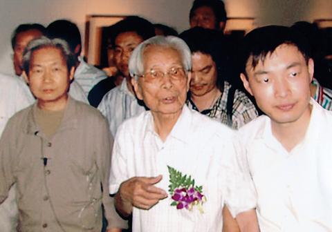 乔领与恩师吴冠中先生及著名画家贾又福先生 (2)