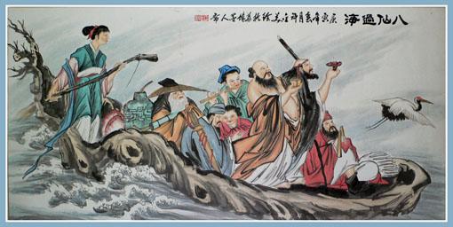 国画《八仙过海》180*97cm-许金美 盛世闪耀著名书画家献礼全国两会