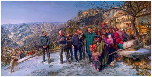 《重返梁家河》油画466×236cm