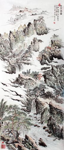 《黄山山水》48×120cm