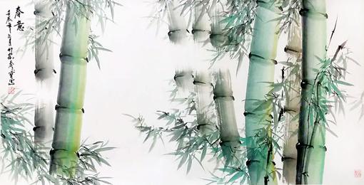 秦长宝作品《春意》137cm×67cm