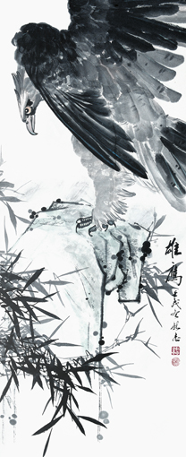 《雄鹰》60x135cm 1981年(获国际荣誉金奖《人民日报》《光明日报》均有刊发)