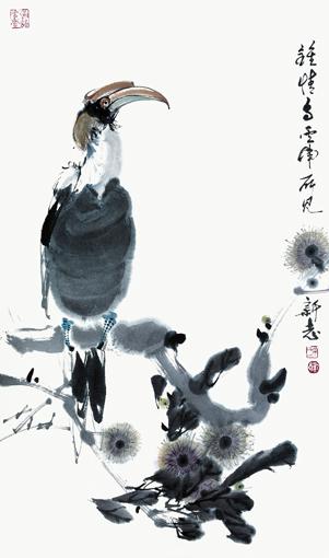 《钟情鸟》写生创作于云南西双版纳 46x69cm 1984年
