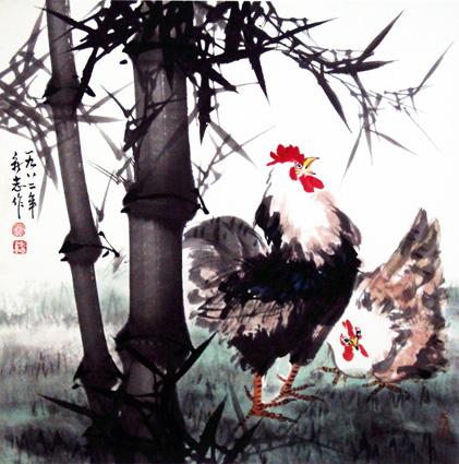 《竹林鸡趣》68×68cm 1982年