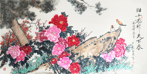 《牡丹花开天下春》136×68cm