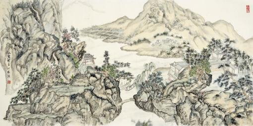 《江岸村》68×136cm