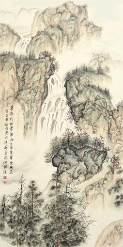 《江山行旅《六条屏之一》68×136cm