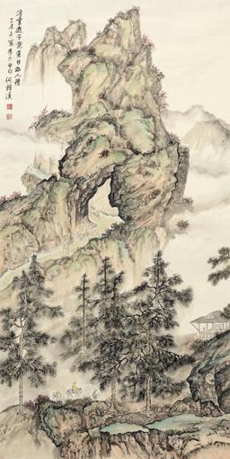 《江山行旅》六条屏之二 68×136cm