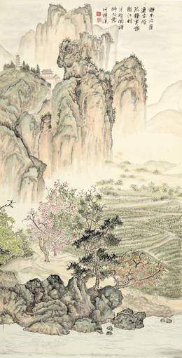 《江山行旅》六条屏之四 68×136cm