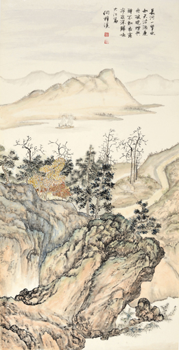 《江山行旅》六条屏之六 68×136cm