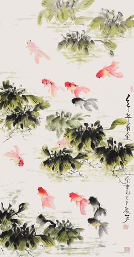 余重光作品《年年有余》136*70cm-中国书画艺术名家 万虾翁 余重光
