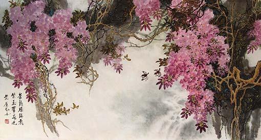 《苍龙腾瑞气 紫玉带春光》98×180cm