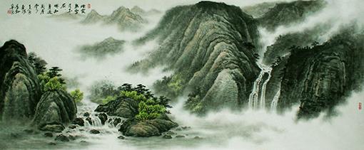 《烟霞泉壑看不厌 哪知身过几层云》80×180cm