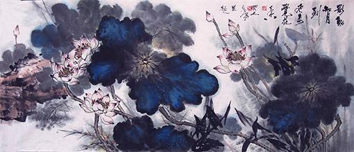 《影动知月到 风来觉花香》83×180cm