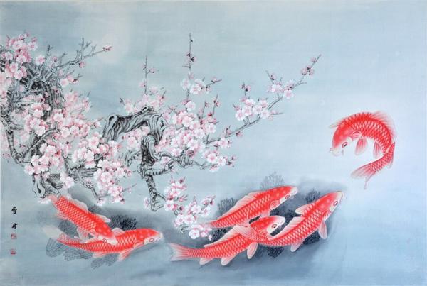 宁雪君作品《梅花金鱼图》