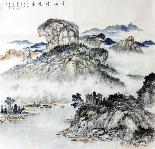 《夏山清晓图》67cm×69cm