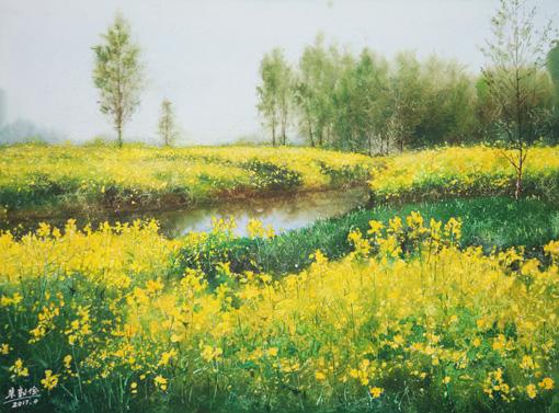 水彩画 乡村处处菜花黄 75×55cm