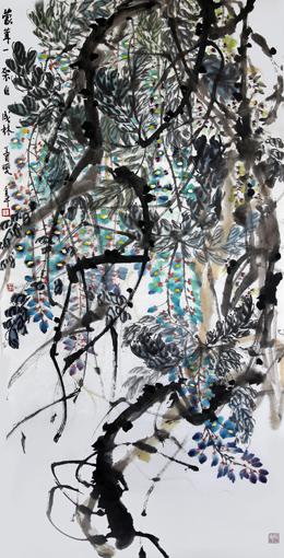 道金平作品《蒙茸一架自成林》68×138cm 2017年