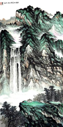 杜福生《水绿山青》136×68cm