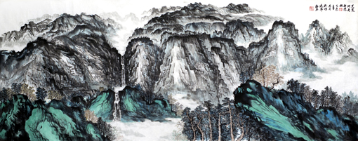 杜福生《天荒地老无枯荣》180×70cm