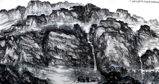 杜福生《长林幽溪》180×97cm