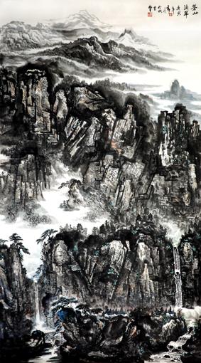 杜福生《苍山滴翠》180×97cm
