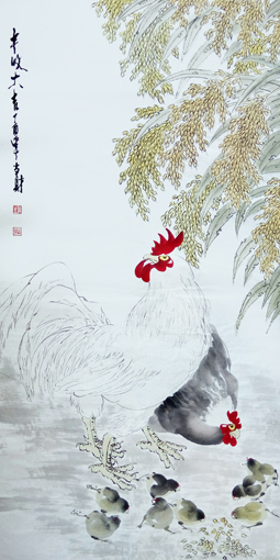 刘当财作品《丰收大吉》规格:138x68cm