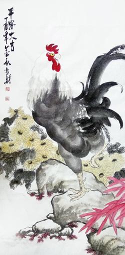 刘当财作品《平安大吉》规格:138x68cm